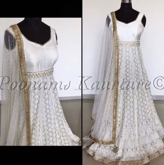 Side by side photos of white anarkali on a mannequin