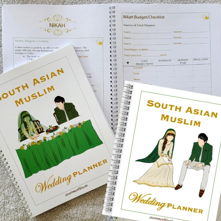 Photo of outside cover and inner pages of wedding planner